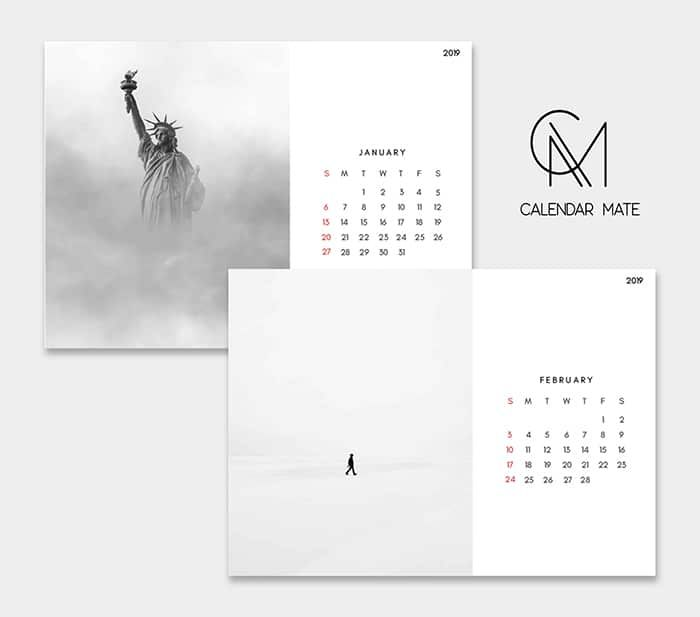 floo  minimalist desk calendar design 2019 and 2020