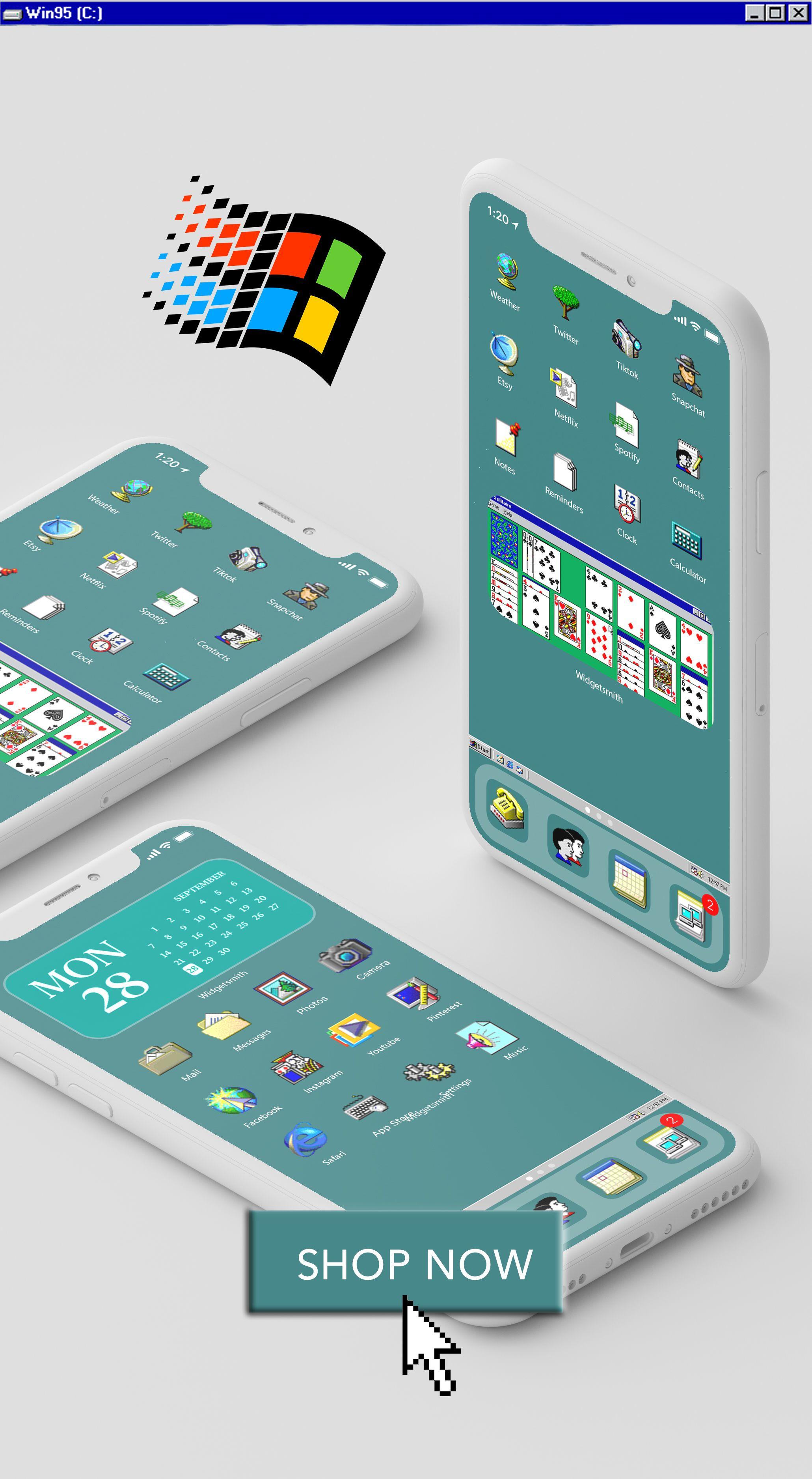 28 Iphone Ios 14 App Icons Ios14 Widget Photos Windows95 Etsy In 2020 App Icon Iphone Shortcut Icon