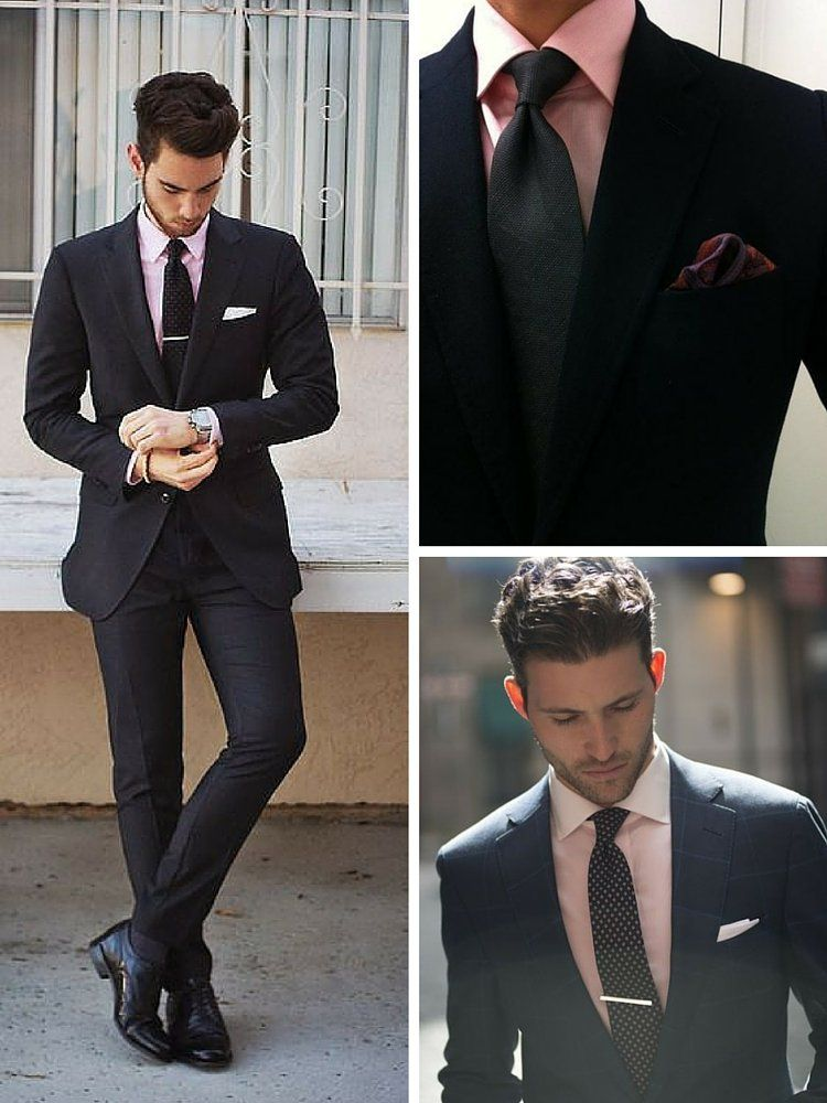 How to wear a Black Suit with a Pink Shirt | Men & grooming inside ...