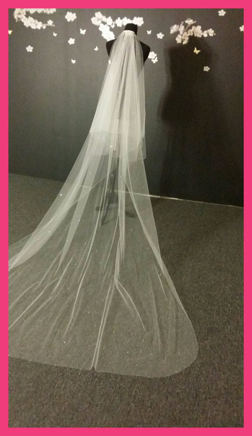 Cathedral veil with swarovski crystals and blusher Etsy