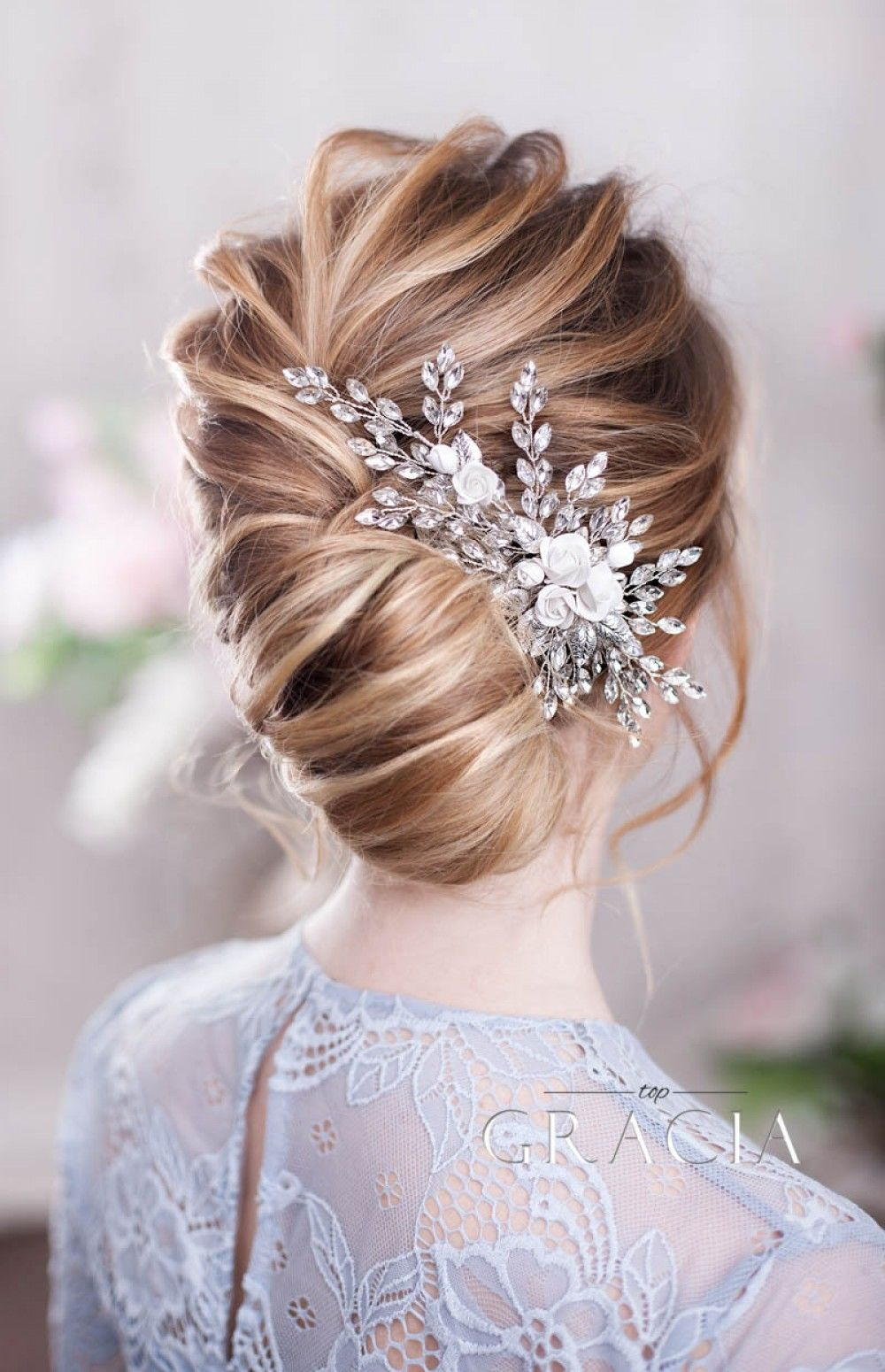 ZENOBIA Bridal and Wedding Hair Comb with Rose Flowers and Crystals #bridalhairflowers
