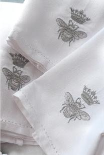 silver bee linen napkins...