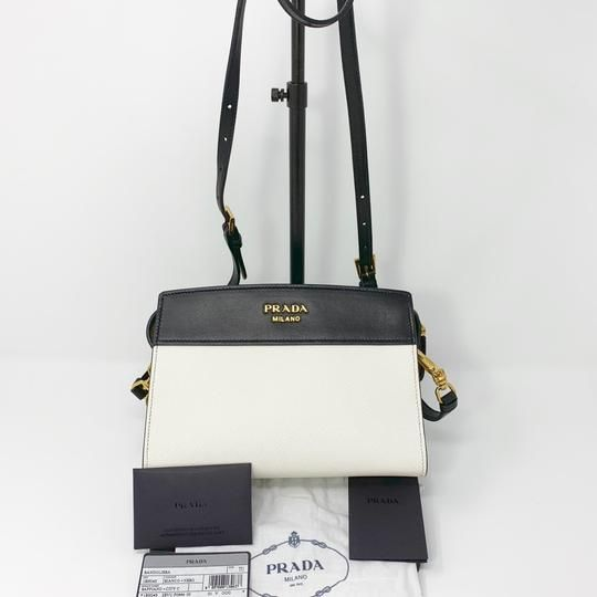 924905f6a116 Prada Bandoliera Saffiano Black & White Leather Cross Body Bag - Tradesy