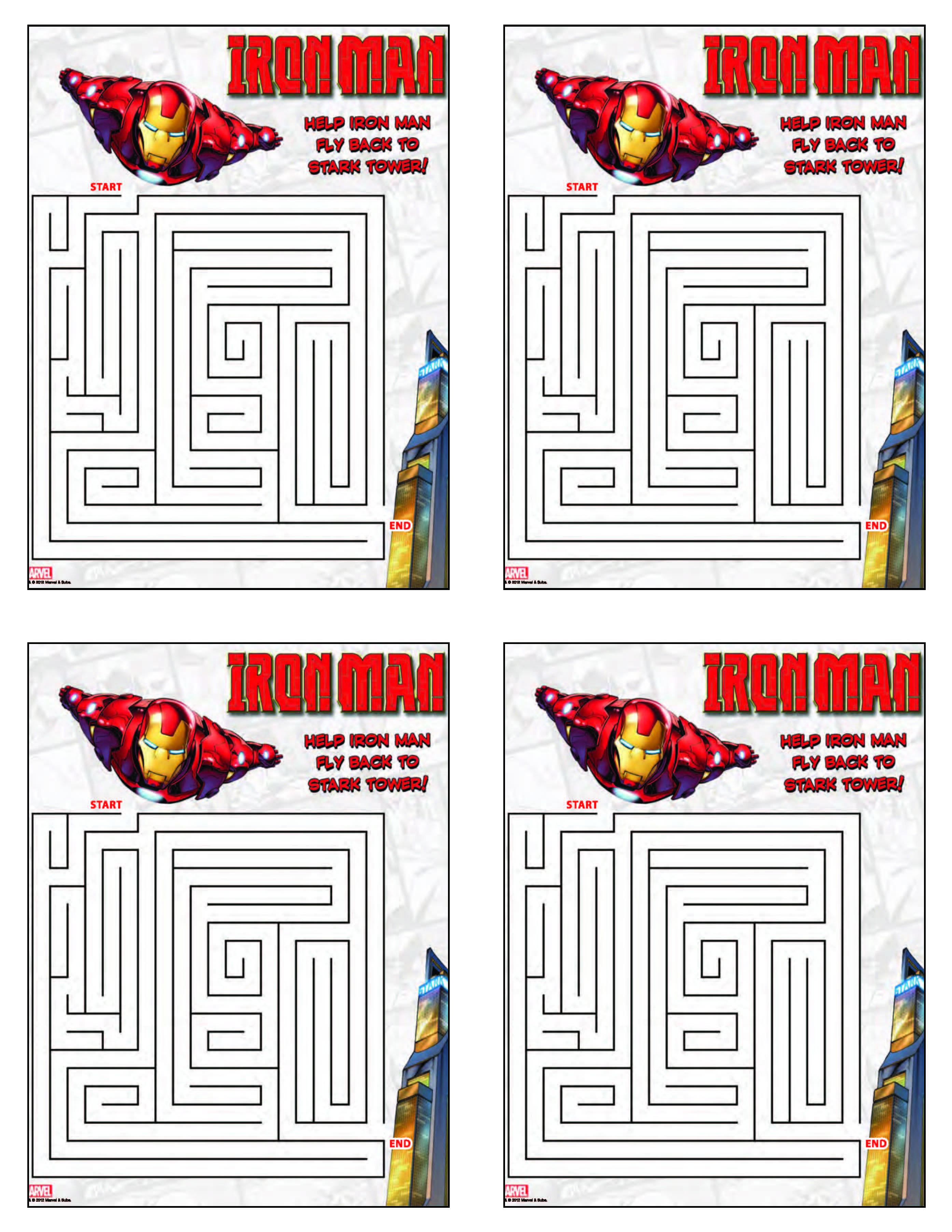Iron Man Maze From Free Printable