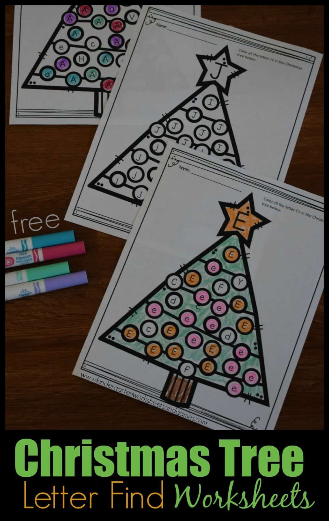 Free Christmas Tree Letter Find Worksheets