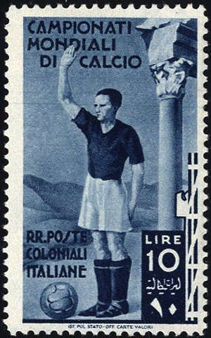 Italian Colonies 1934, Calcio, posta ordinaria, 5 valori, impercettibile traccia di linguella, Sassone 46-50 / 340,-, Unificato 46-50  Dealer Filatelia Monst...