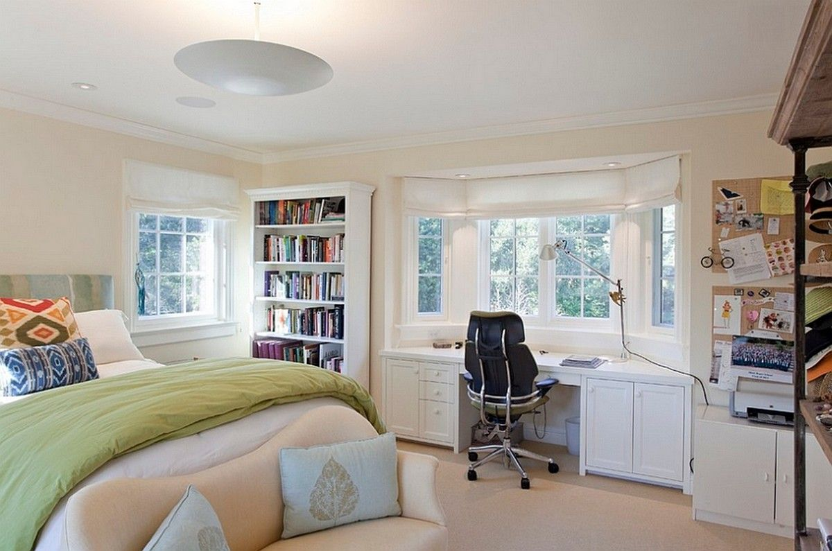 Bedroom Office Bay Window Desk Bedroom Layouts Bedroom Workspace Bedroom Design