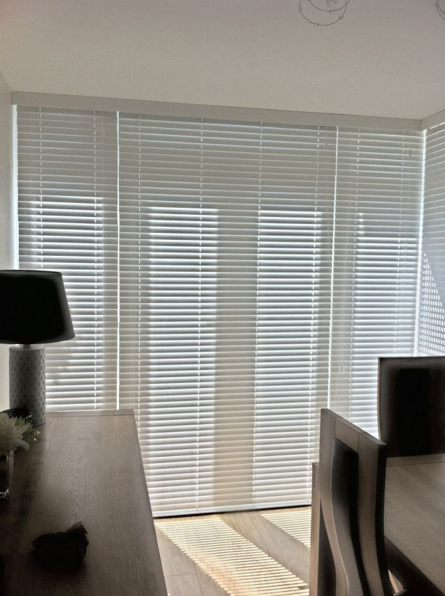 Snow Coloured Faux Wood Venetian Blinds Ion A Set Of French Doors