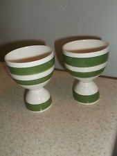 Vintage Double Egg Cups Green Stripes on Cream Background