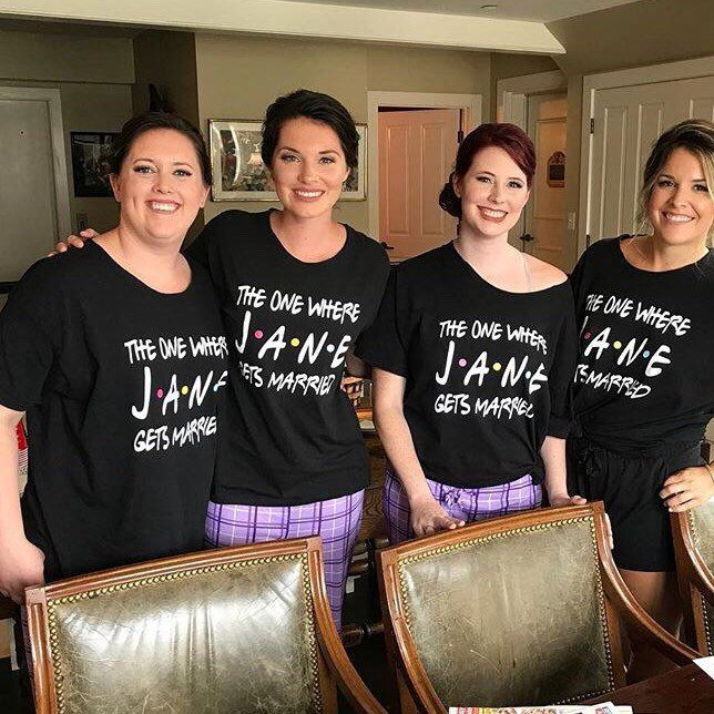 Friends Bridal Party Decals Weddings Bridesmaid Shirts Bridesmaid Tanks Diy Shirts Diy Tanks The One Where Gets Married I Do Crew 3 In 2020 Friends Bridal Friends Bridal Shower Bridal Party Tshirts