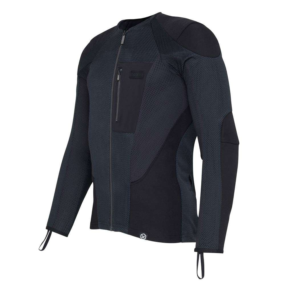 KNOX BLACK GREY LADY WOMENS MOTORCYCLE MOTORBIKE ARMOUR PROTECTIVE ZIP UP SHIRT
