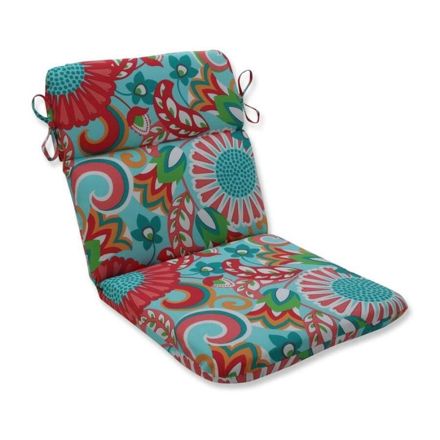 Pillow Perfect Sophia Turquoise/Coral Green Patio Chair Cushion