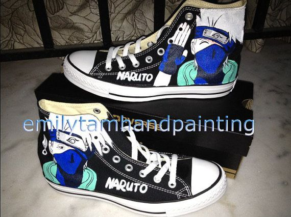 341e097da4b5 I paint the same pattern both on black shoes and white shoes. Which one do  you like  Processing and Shipping Time. Naruto Anime Kakashi Inspired Hand  ...