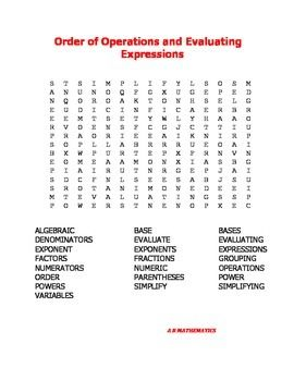 Order Of Operations And Evaluating Expressions Word Search Evaluating Expressions Order Of Operations Words