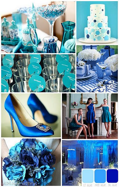 Shades Of Blue Wedding Colors Love The Colors Wedding Theme Outerdress Wedding Colors Blue Blue Themed Wedding Wedding Color Palette
