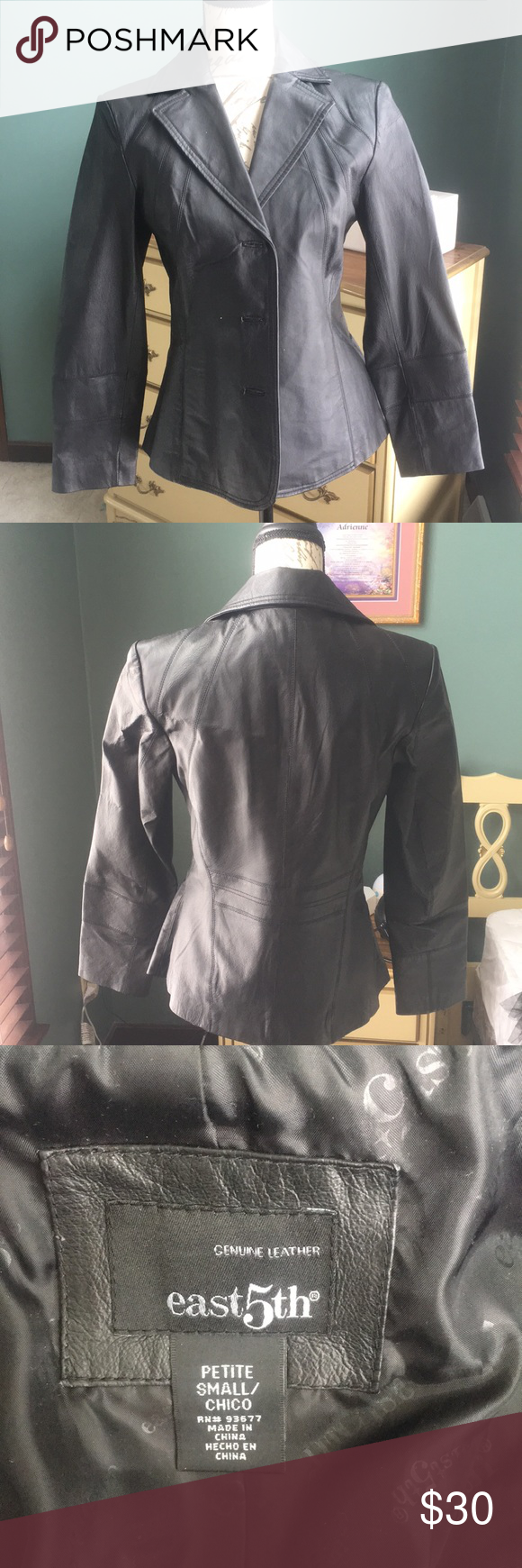 Black leather jacket Form fitting black leather jacket
