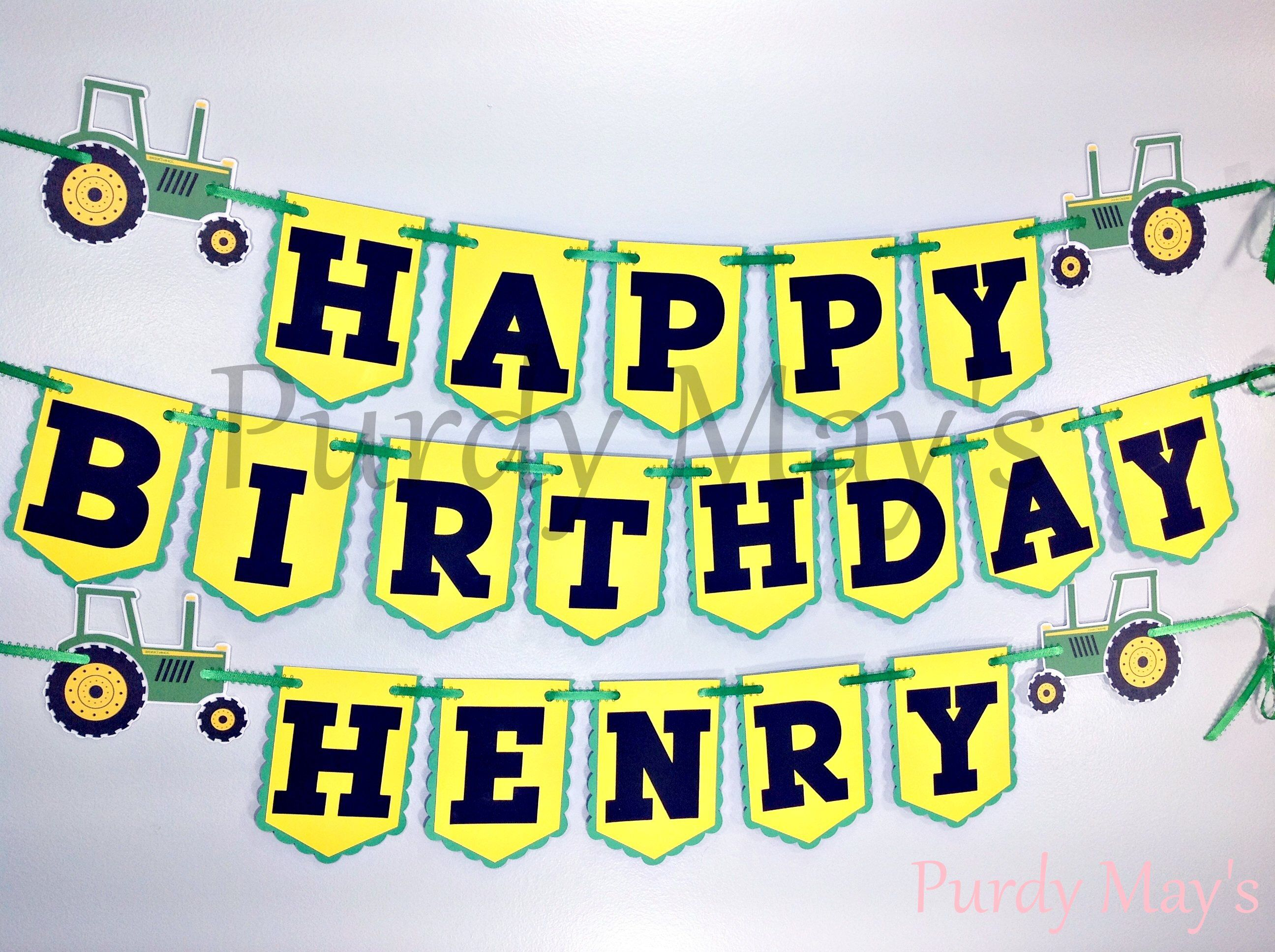 Children/'s Party Banner Personalised Tractor Happy Birthday Bunting Any Age