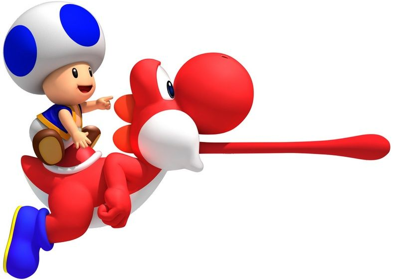 New Super Mario Brothers Wii Blue Toad On Red Yoshi Spel Film