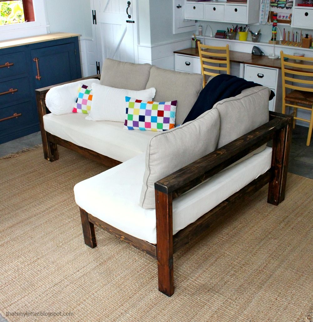 Ana White | Kids Couch   2x4 DIY Sectional With Crib Mattress Cushions   DIY  Projects Part 89