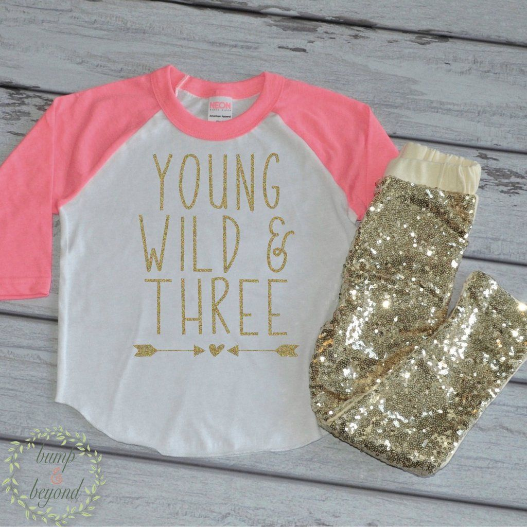 Young Wild and Three Girls 3rd Birthday Outfit Set with Gold Sequin