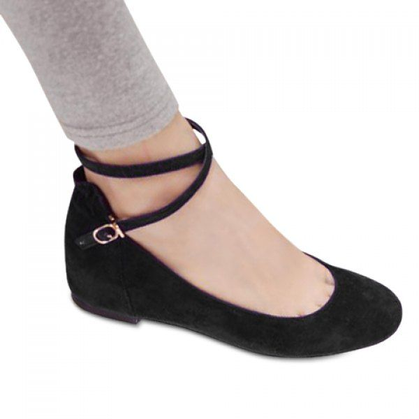 Women'S Suede Solid Color And Cross Straps Flat Shoes