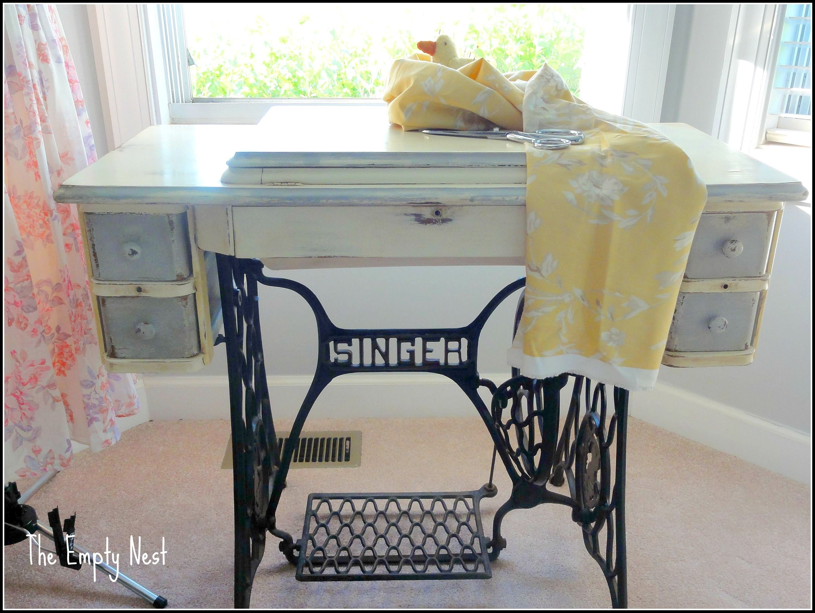 chalk paint antique Singer sewing table | The Empty Nest ...