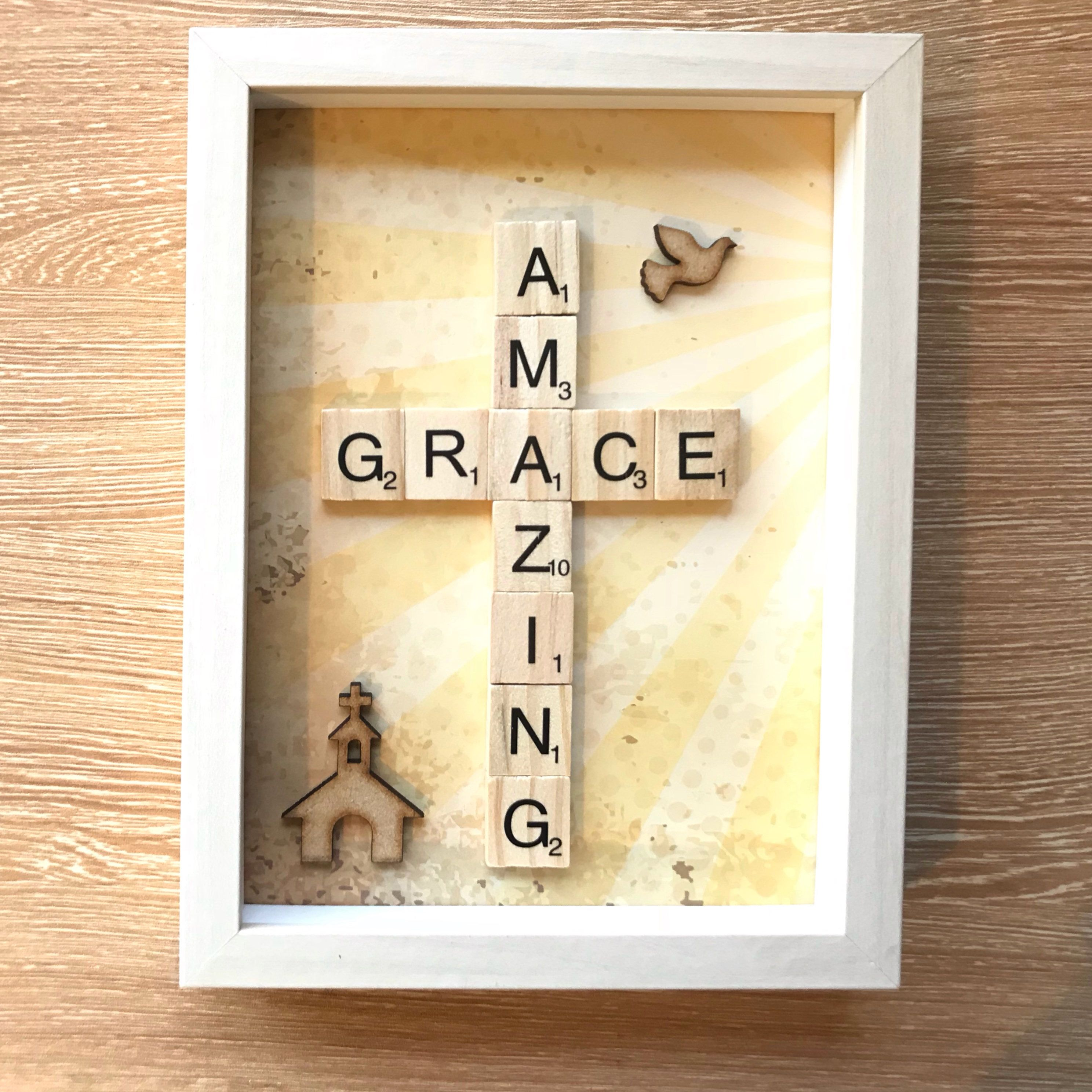 Amazing grace beautiful scrabble box frame christian church gift amazing grace beautiful scrabble box frame christian church gift christening gift easter gift church religious picture frame negle Image collections