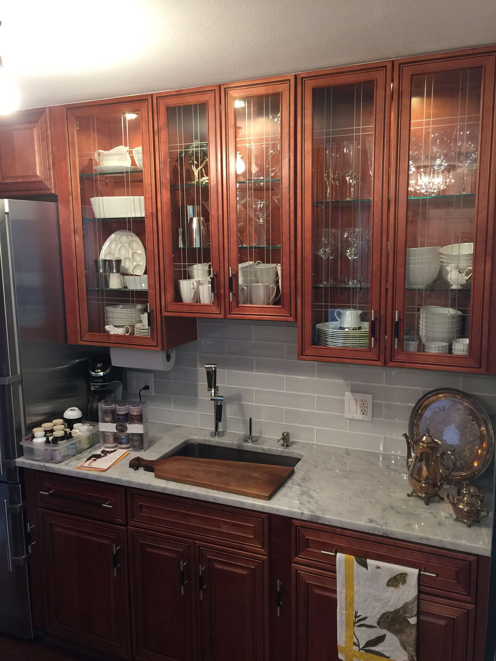 Glass doors | Solid wood cabinets, Cabinet, Kitchen