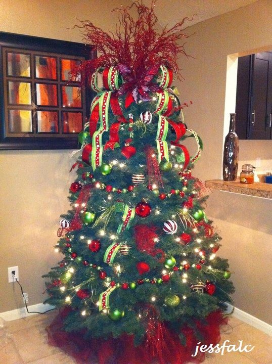 Whimsical Lime Green  Red Christmas Tree by helene CHRISTmas