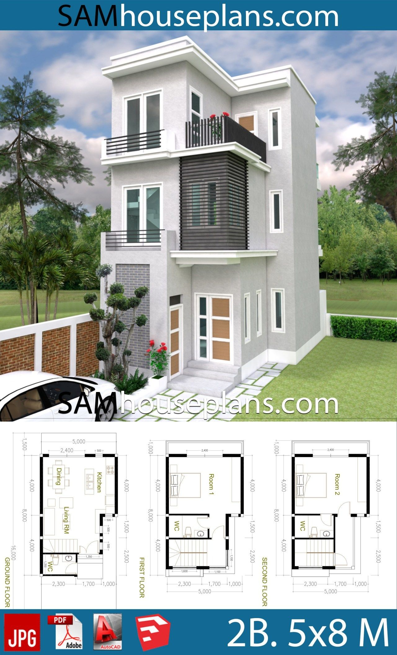 House Plans 5x8 With 2 Bedrooms Sam House Plans Sims House Plans Tiny House Plans House Designs Exterior