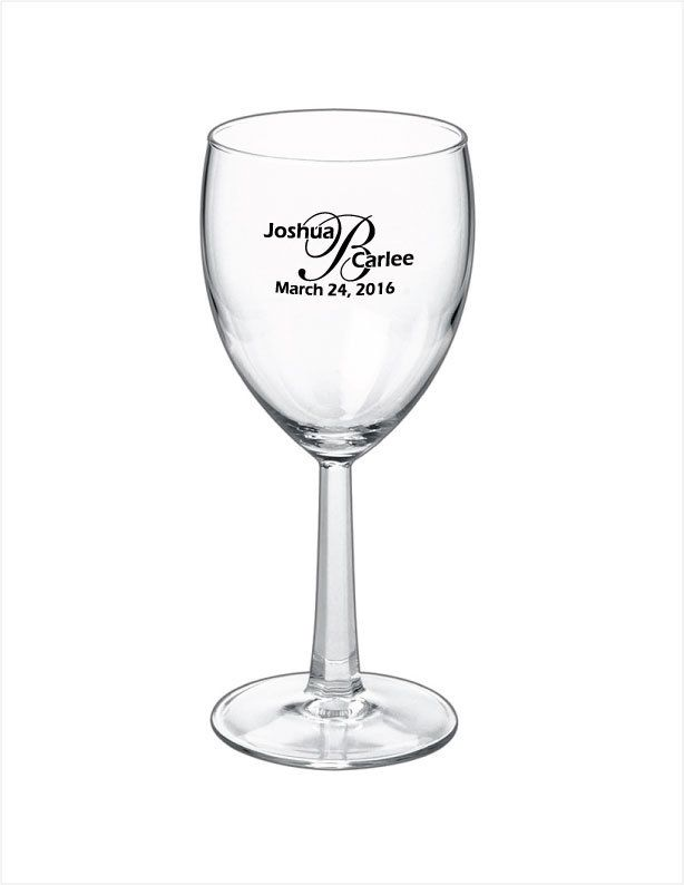 Closeout Sale 36 Personalized 85oz Wine Glasses For Wedding