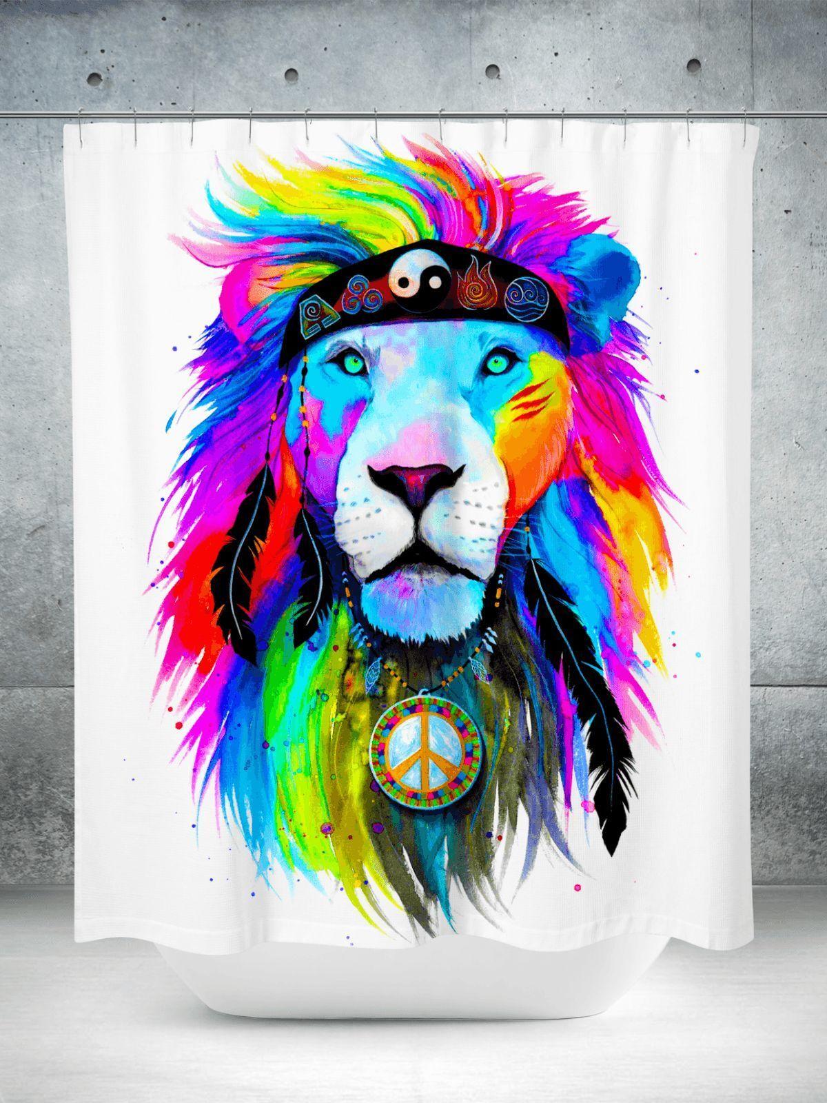 Hippie Lion Shower Curtain Hippiehomedecor Hand Art Drawing