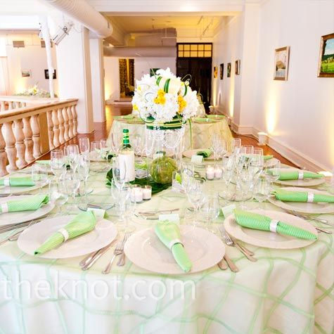 Green table linens