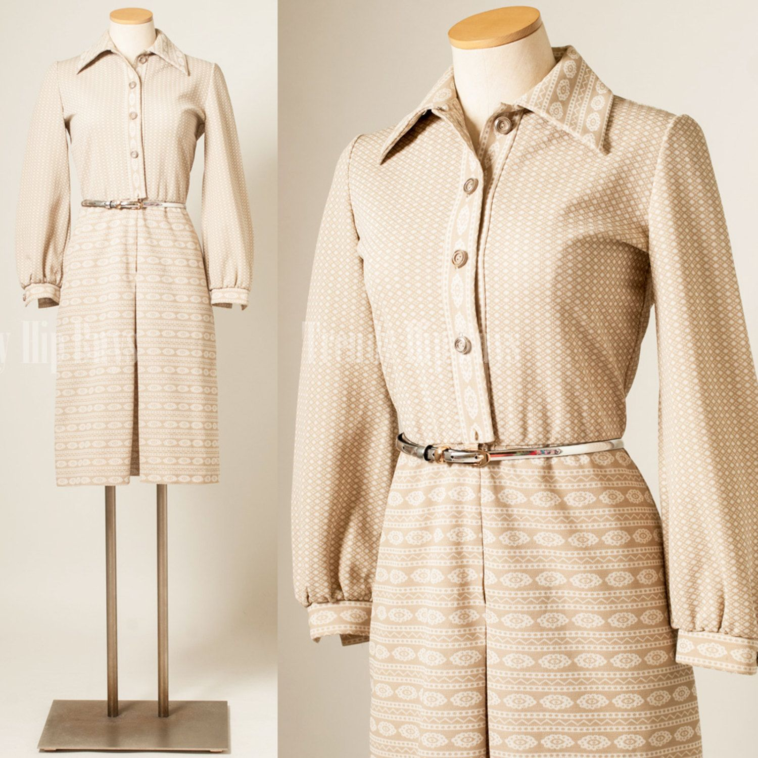 Vintage 60s Dress Mod Mad Men Nude brown secretary dress - S | New ...