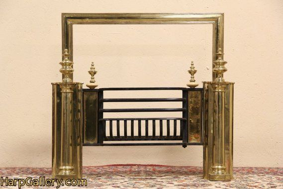 Surprising English Brass 1900 Antique Fireplace Insert Basket Harp Download Free Architecture Designs Pushbritishbridgeorg