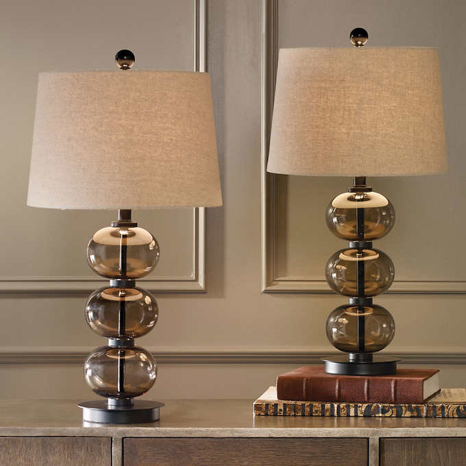 Naomi Smoked Glass Sphere Table Lamp 2 Pack Metal Floor Lamps Table Lamp Lamp