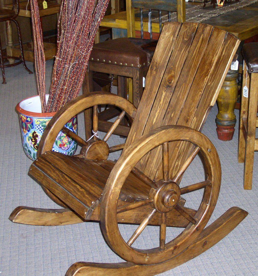 Beau #4500 WAGON WHEEL ROCKING CHAIR 269 1.JPG Wagon Wheel Table, Rocking Chairs
