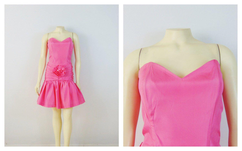 Vintage dress s prom dress rampage pink sweetheart neck drop hip