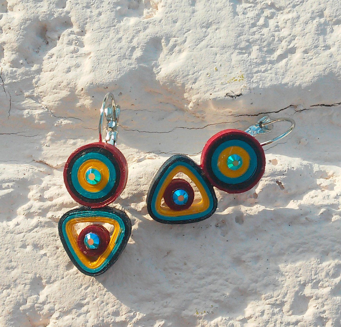 Paper quilled brown bordeaux turquoise and yellow chandelier paper quilled brown bordeaux turquoise and yellow chandelier earrings statement jewelry arubaitofo Choice Image
