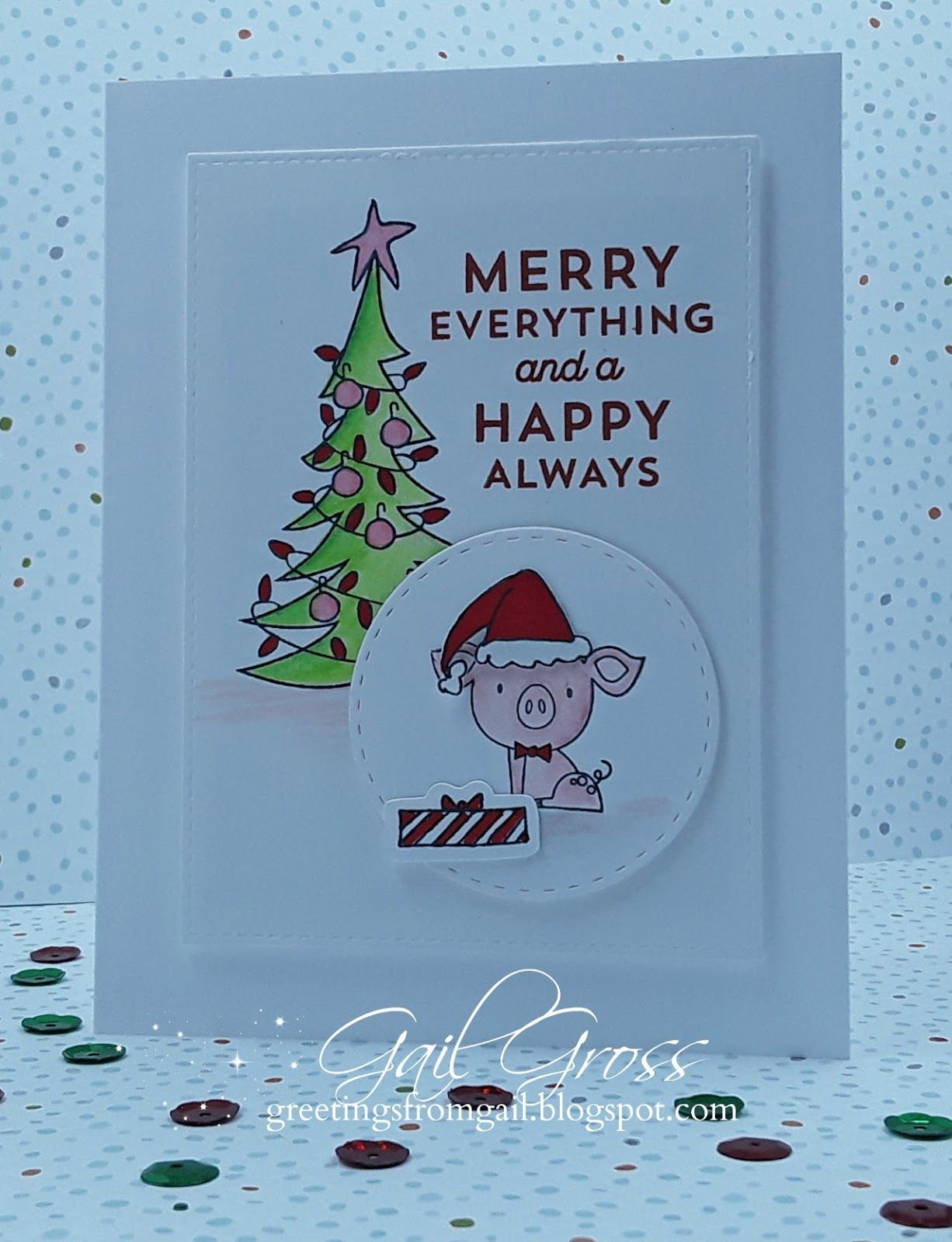 Who doesn\'t love a cute pig - and on your Christmas card, of all ...