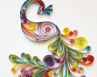 Piquants papier d\'Art: « Paon coloré » - oeuvre à la main - papier ...
