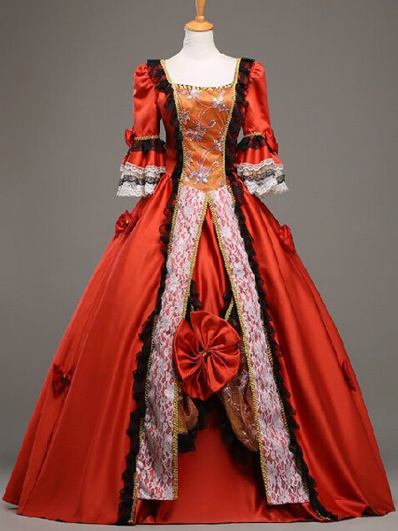 b6813fe0759a 18th Century Red Flora Marie Antoinette Ball Gown Vintage Royal Dress  #Unbranded #BallGownBubble #Casual