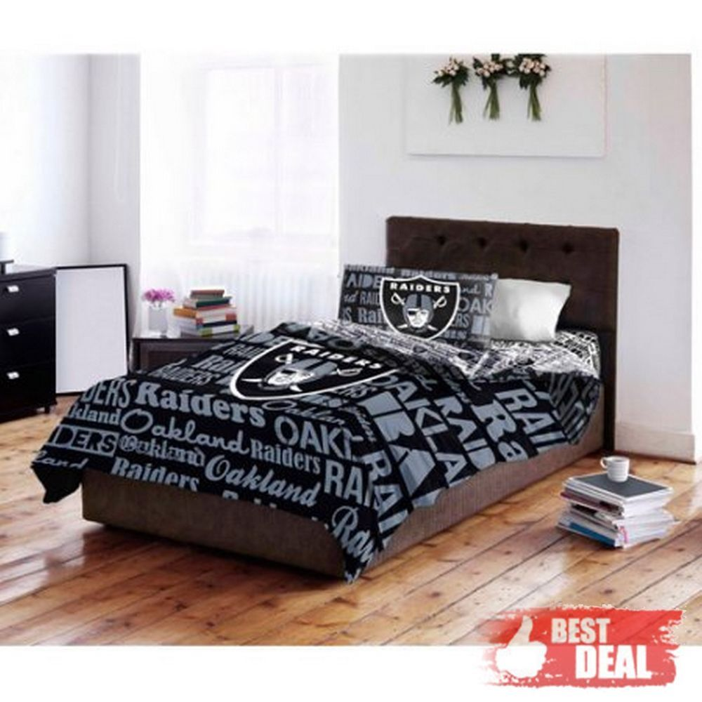 Oakland Raiders Nfl Twin Comforter Pillow Sham Set Oakland