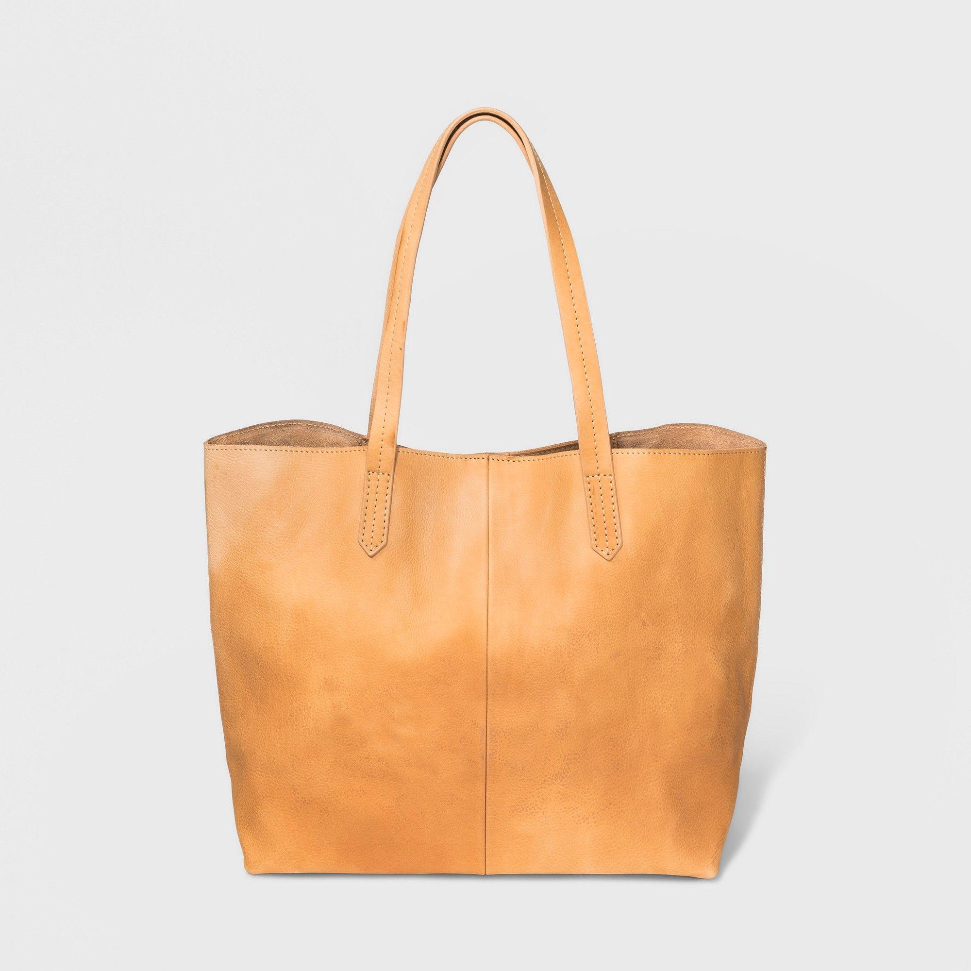 6c70a71f26b Genuine Leather Tote Handbag - Universal Thread Light Brown ...