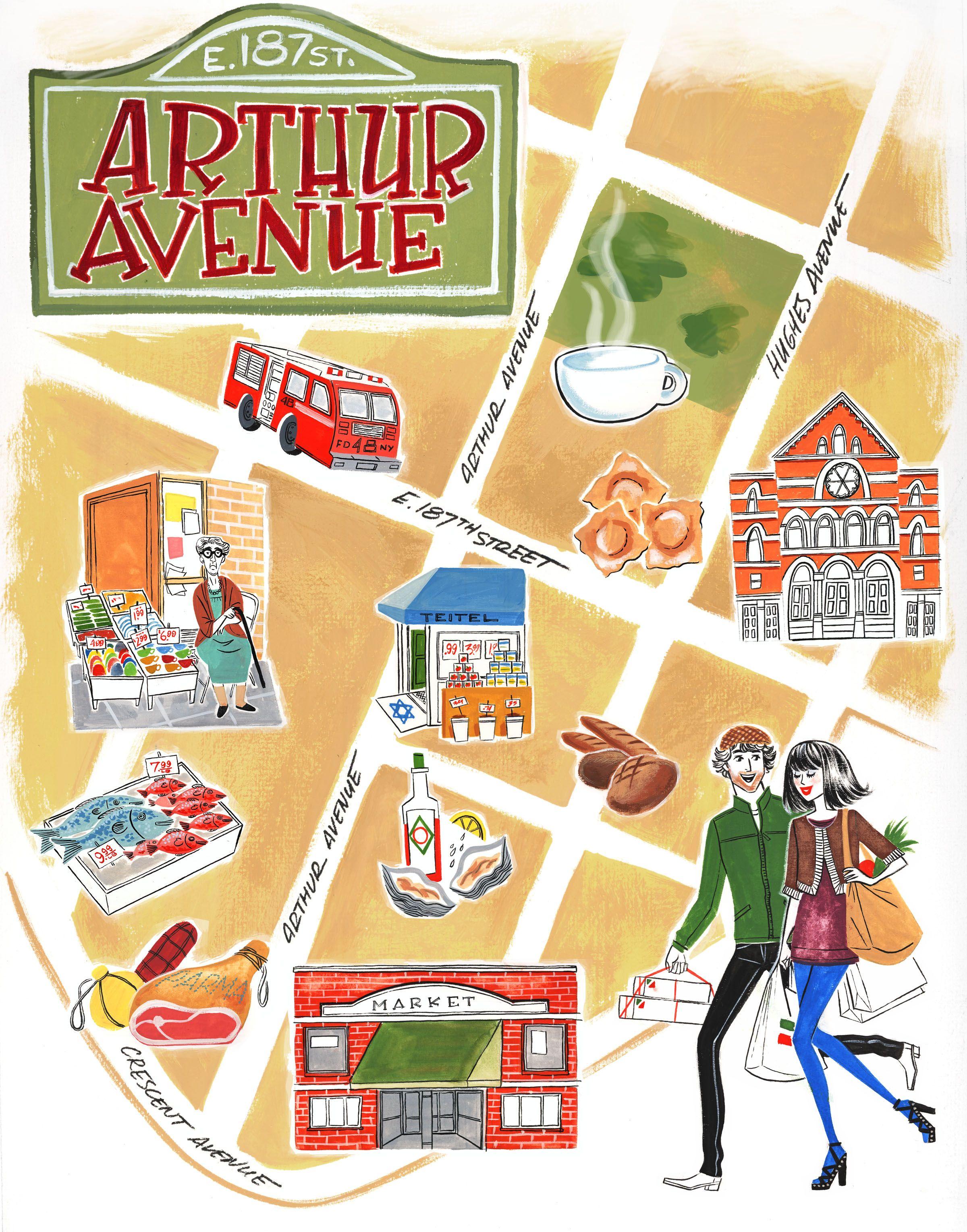 Arthur Avenue Little Italy Map New York By Marilena Perilli