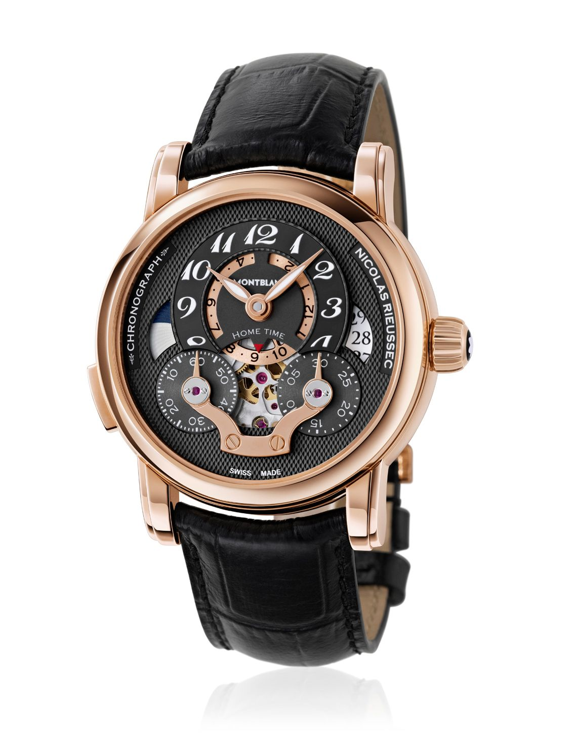 Montblanc Nicolas Rieussec Chronograph Open Home Time Red Gold