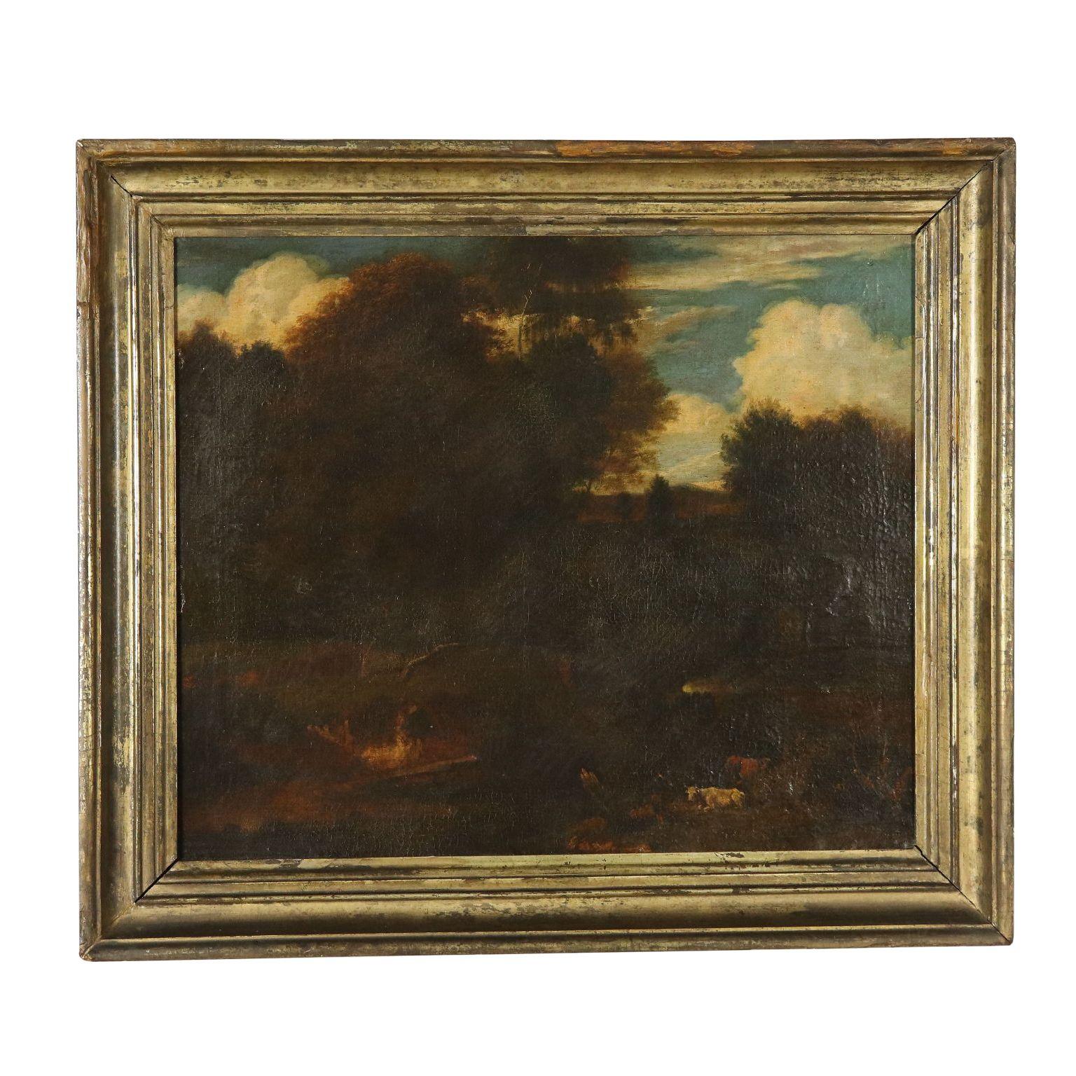 Landschaft mit Hirt und Herde Ölgemälde 18. Jahrhundert #landscapeplans