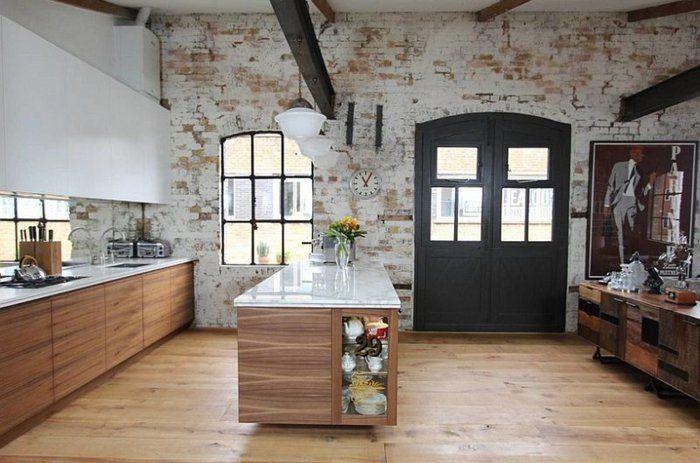 pared de ladrillo visto pintado de blanco | cocinas y baños | Pinterest