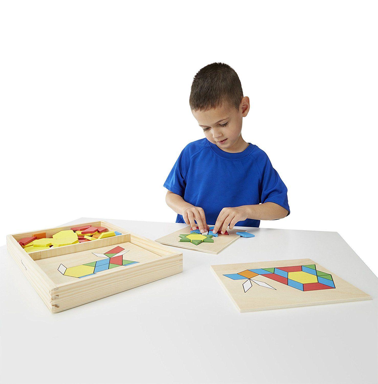 Amazon Com Melissa Doug Pattern Blocks And Boards Classic Toy