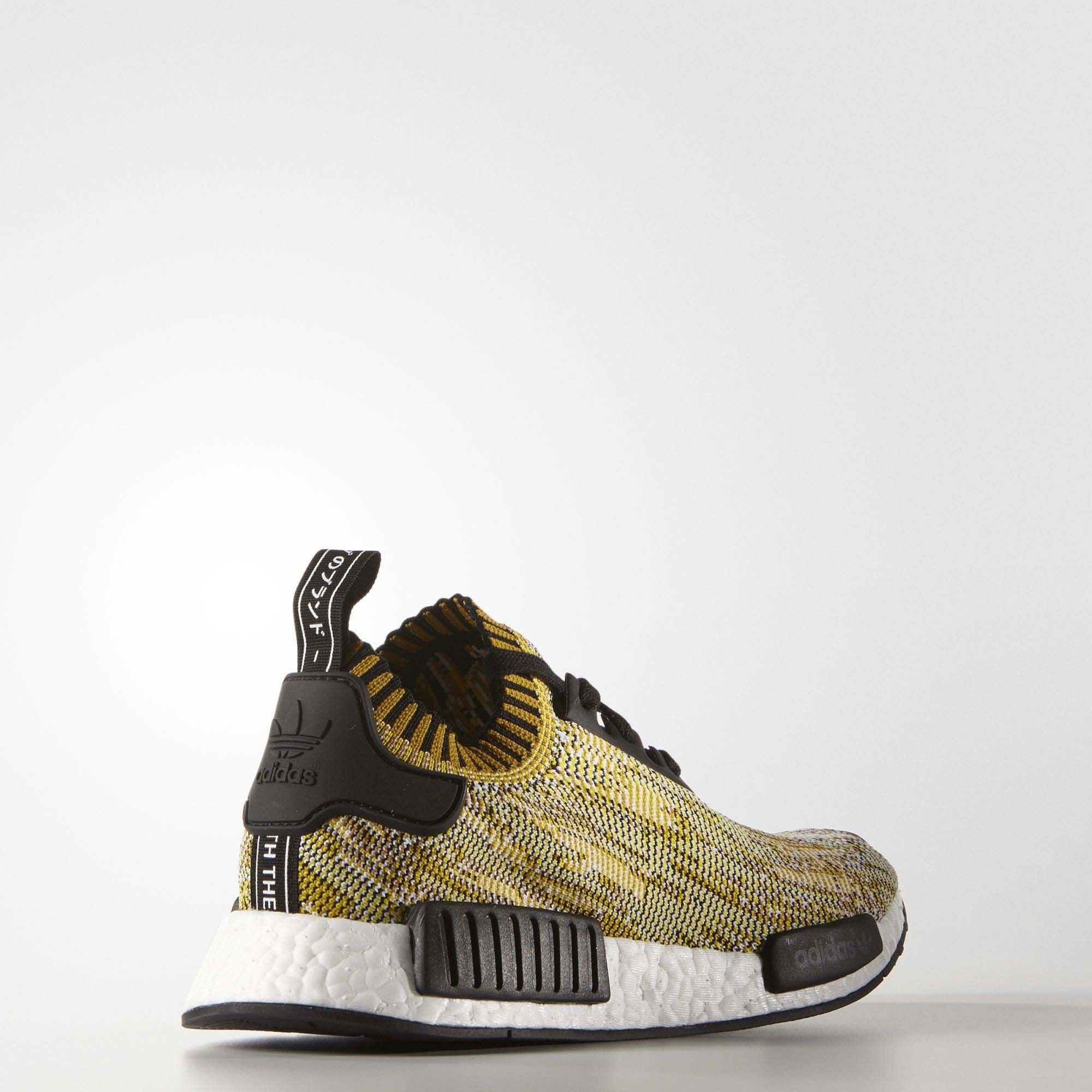 Adidas NMD_R1 Primeknit Yellow Camo Mens Core BlackCore